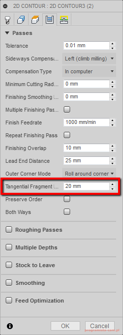 parametr Tangential Fragment Extension Distance