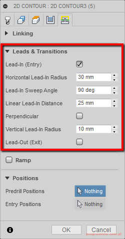 leads transitions fusion 360