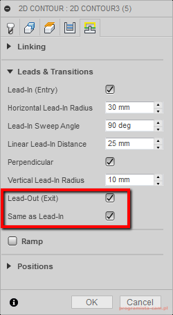 lead-out exit fusion 360