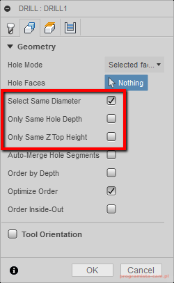 select same diameter