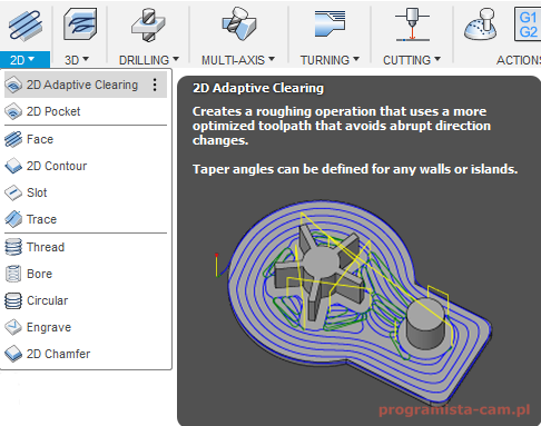 fusion 360 2d adaptive clearing