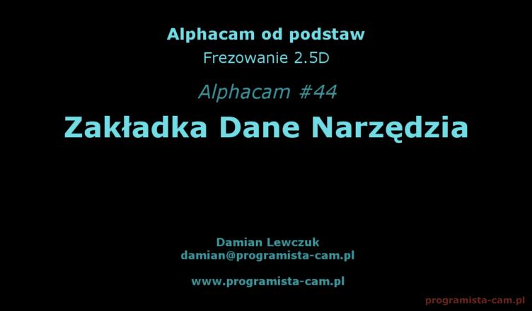 dane narzędzia alphacam